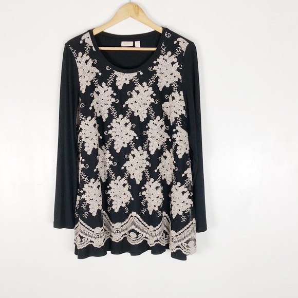 """LOGO """"As Is"""" Embroidered Mesh Overlay Tunic Sz L"""